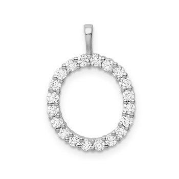 "14k white gold initial ""O"" pendant"