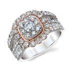 Beautiful Bride 14K WG & RG 2.00ctw Quad Center Diamond Engagement Ring