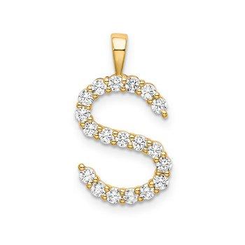 "14k yellow gold initial ""S"" pendant"