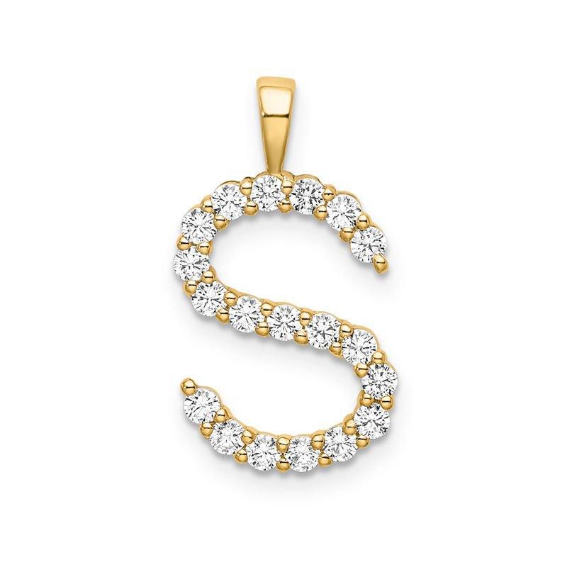 "Greenberg's 14k yellow gold initial ""S"" pendant"
