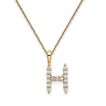 "14k yellow gold initial ""H"" pendant with chain"