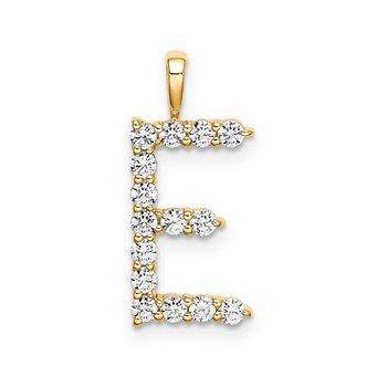 "14k yellow gold initial ""E"" pendant"