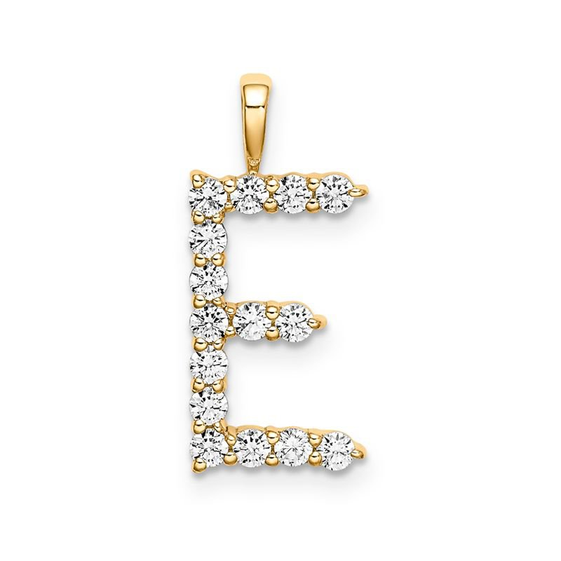 "Greenberg's 14k yellow gold initial ""E"" pendant"