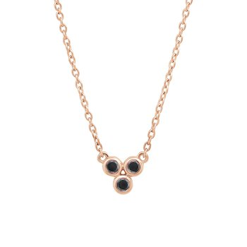 10k pink gold three-enhanced black diamond fashion pendant