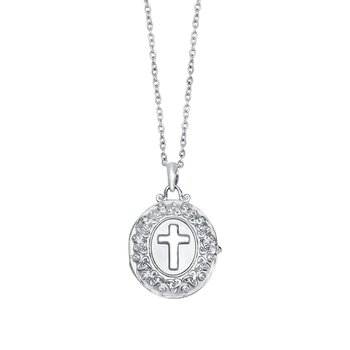 sterling silver cross locket with 18 inch. cable chain