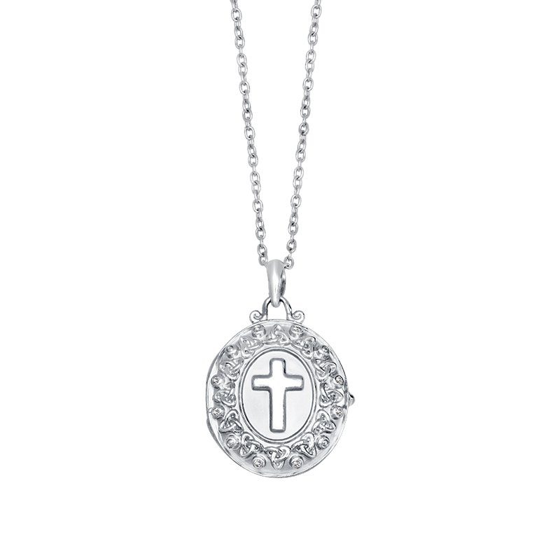 Greenberg's sterling silver cross locket with 18 inch. cable chain
