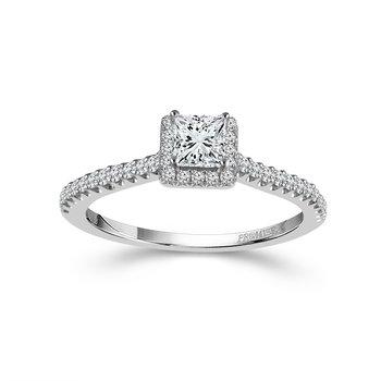 14k white gold 1/4 princess cut diamond engagement ring