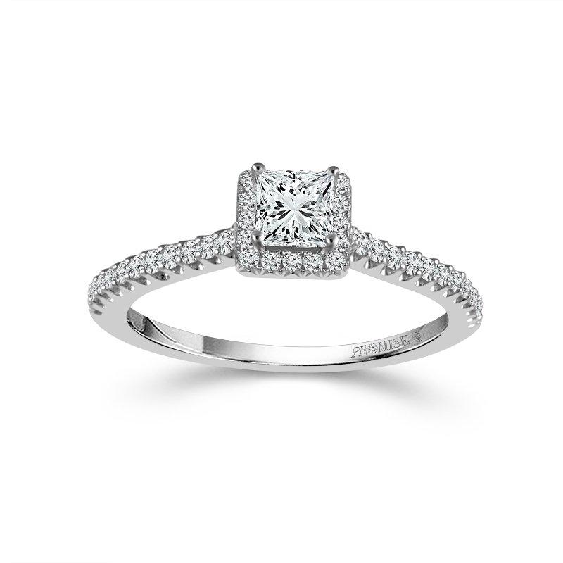 Love Story 14k white gold 1/4 princess cut diamond engagement ring