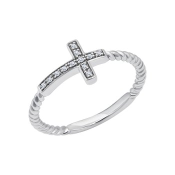 sterling silver diamond .04ctw fashion cross ring