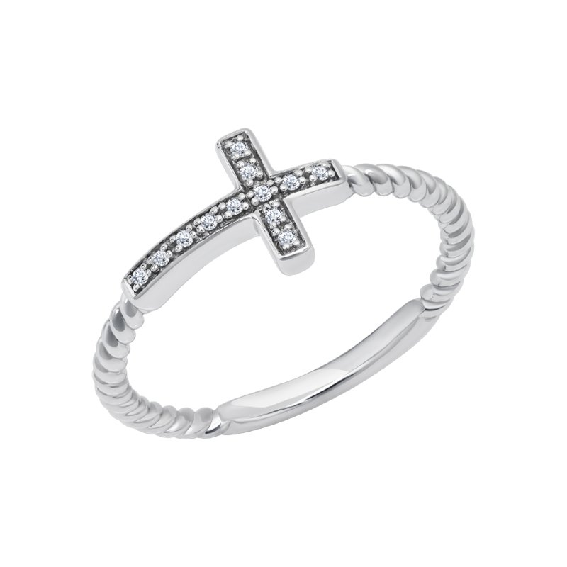 Greenberg's sterling silver diamond .04ctw fashion cross ring