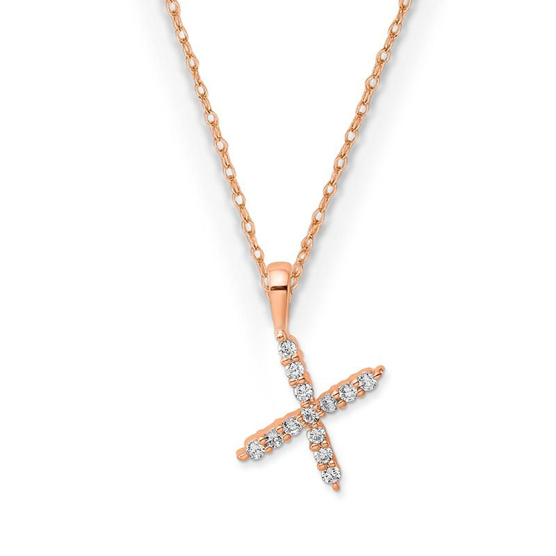 "Greenberg's 14k rose gold initial ""x"" pendant with chain"
