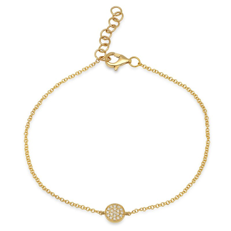 Shy Creation 0.05CT 14K Y/G Diamond Pave Circle Bracelet
