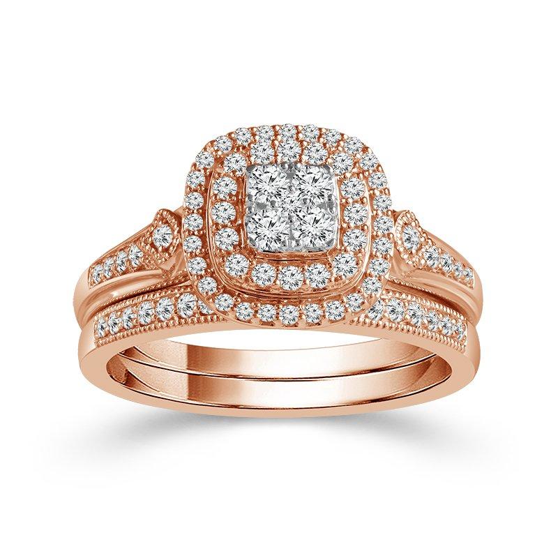 Beautiful Bride 10K RG 1/2ctw Cluster Center Diamond Bridal Set