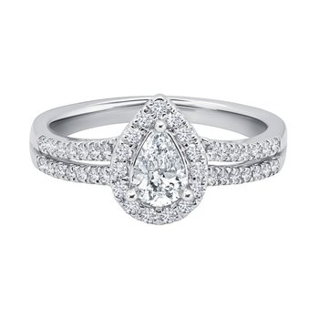 14k white gold 3/8 pear-shaped engagement ring