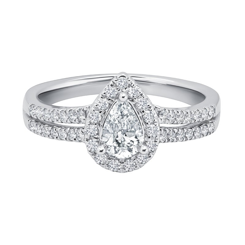 Greenberg's 14k white gold 3/8 pear-shaped engagement ring