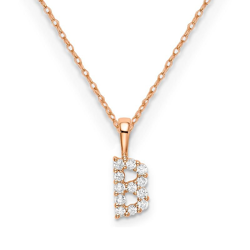 """Greenberg's 14k rose gold initial """"B"""" pendant with chain"""