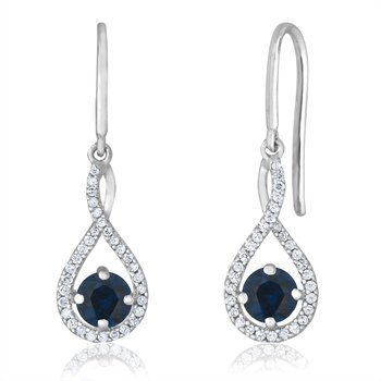 sterling silver and diamond sapphire drop earrings