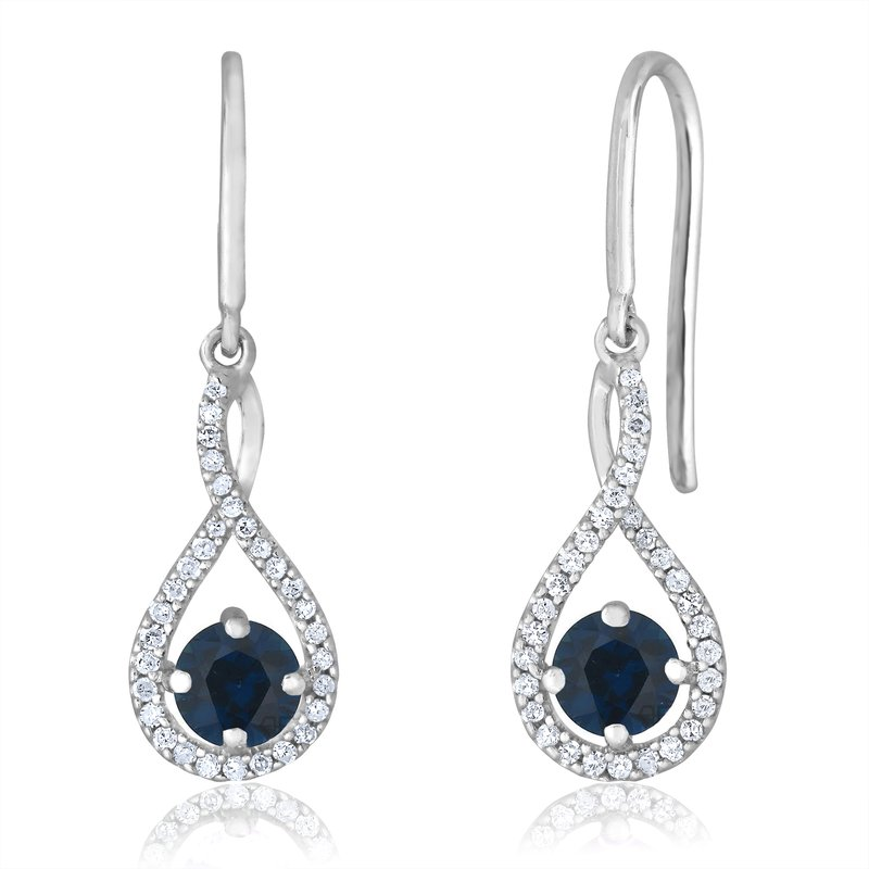 Greenberg's sterling silver and diamond sapphire drop earrings