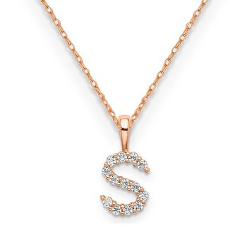 "14k rose gold initial ""S"" pendant with chain"