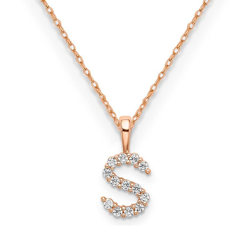 """Greenberg's 14k rose gold initial """"S"""" pendant with chain"""