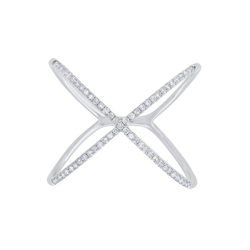 "Shy Creation 0.18CT 14K W/G Diamond Lady's ""X"" Ring"