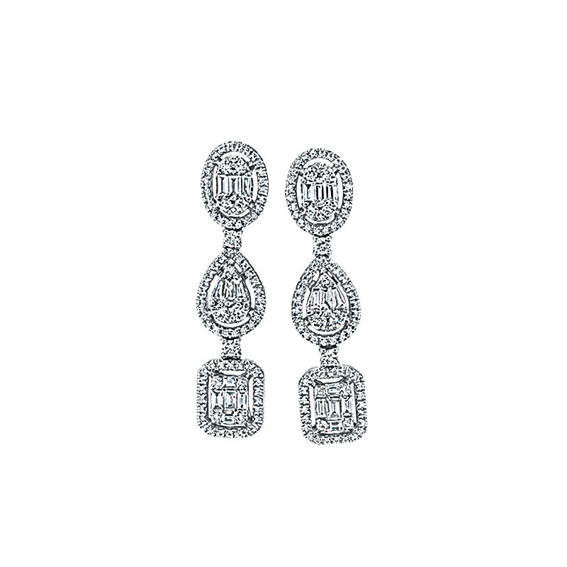 Greenberg's 14k white gold drop earrings