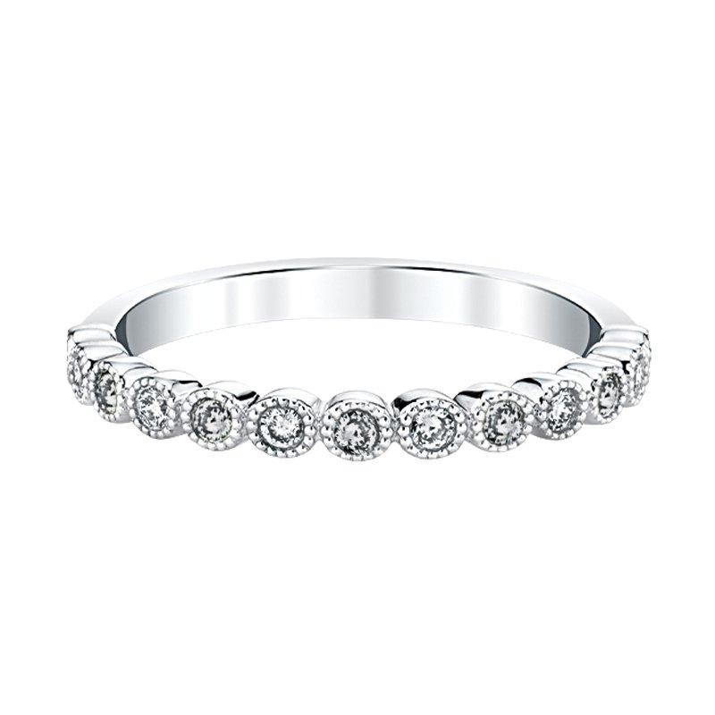 "Greenberg's 14k white gold ""april"" topaz and diamond birthstone ring"