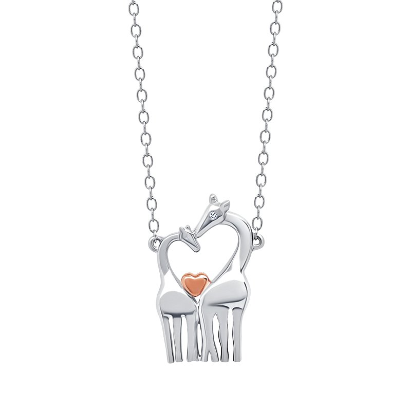 Greenberg's sterling silver and pink micron plated giraffe pendant