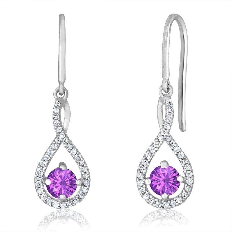 Greenberg's sterling silver and diamond amethyst drop earrings