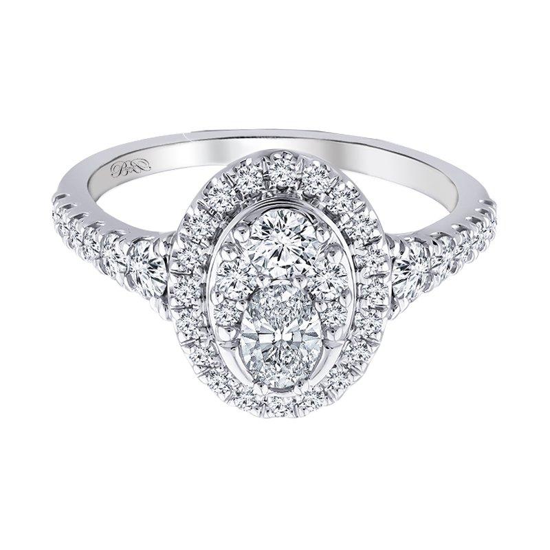 Beautiful Bride 14K WG 1ctw 1/3ct Oval Center Diamond Bridal Set