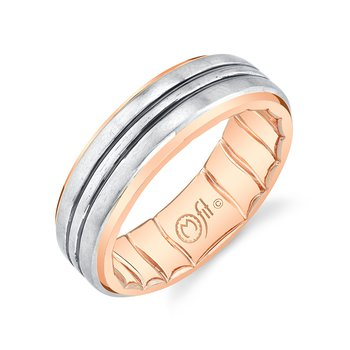 10k white and rose gold with black rhodium lines men's wedding band