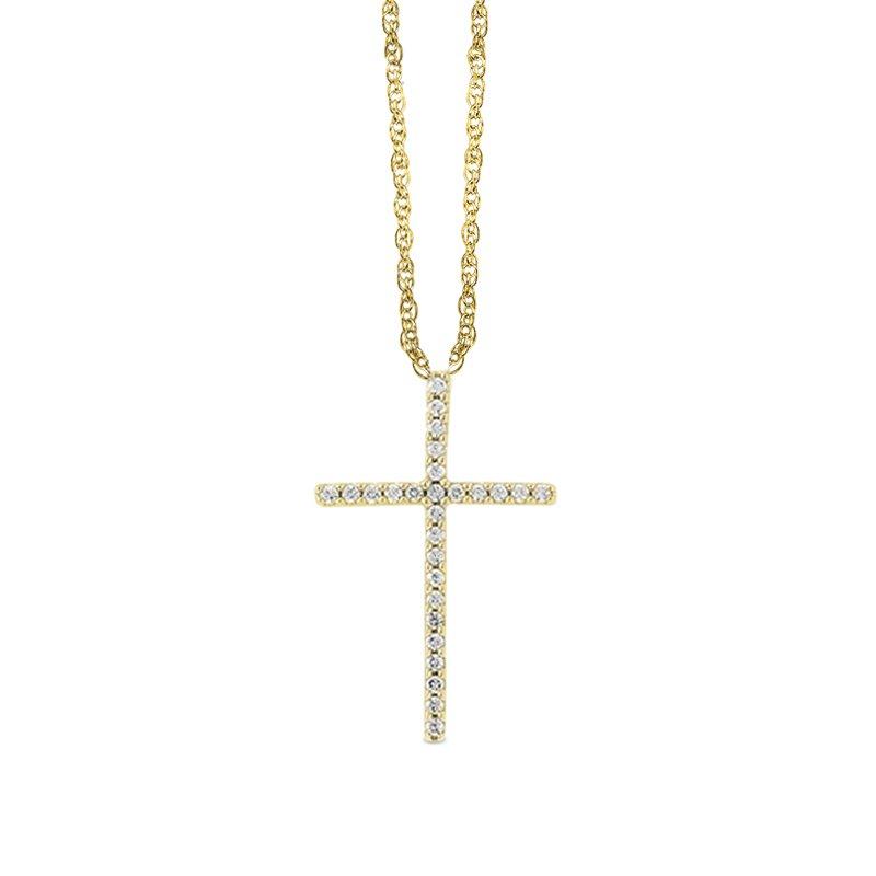 Greenberg's 14k yellow gold cross pendant