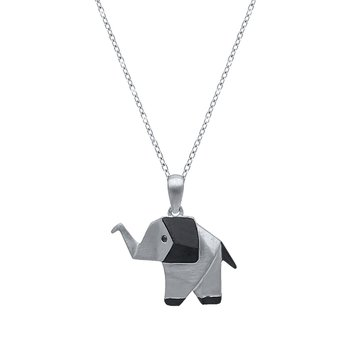 sterling silver origami elephant pendant