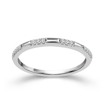 10k white gold .07ctw diamond stackable band