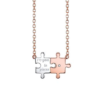 Sterling silver puzzle pieces pendant
