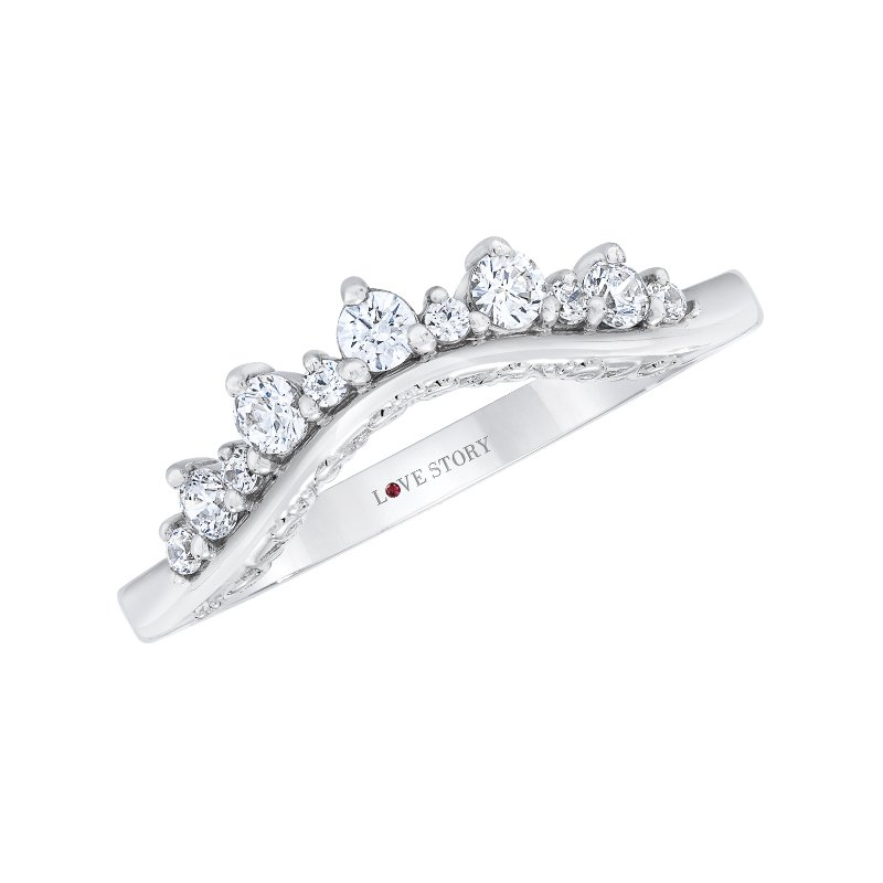 Love Story 14k white gold 1/4ctw curved diamond wedding band