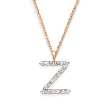 "14k rose gold initial ""Z"" pendant with chain"