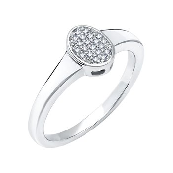 10k white gold .09ctw oval ladies fashion ring