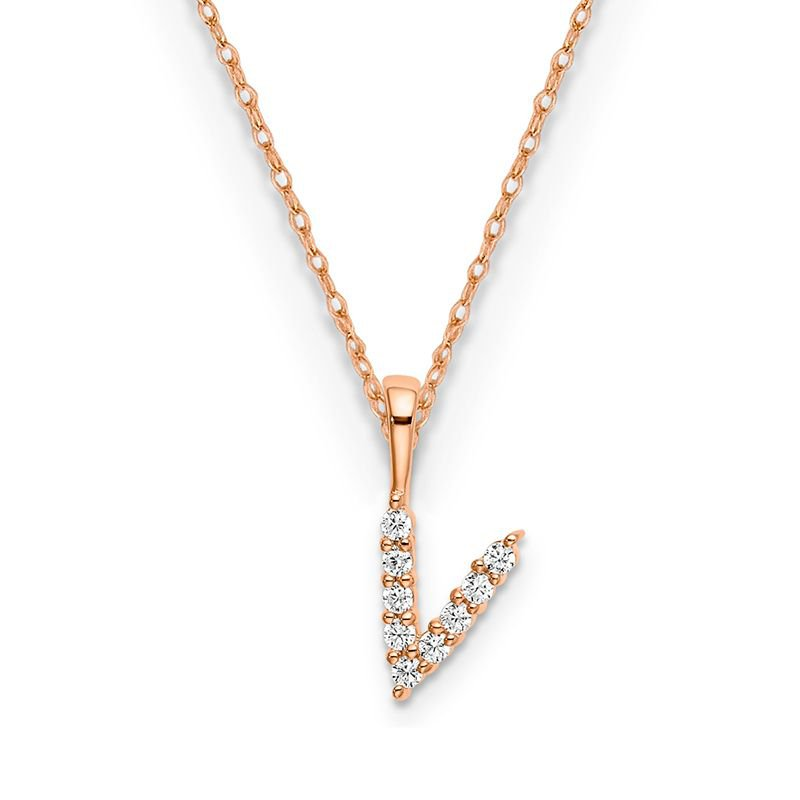 "Greenberg's 14k rose gold ""v"" initial pendant with chain"