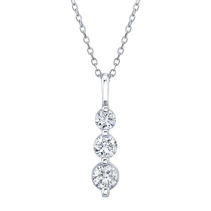 Greenberg's 14k white gold 3-stone diamond pendant