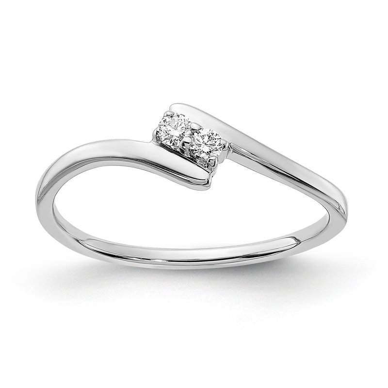 Greenberg's sterling silver .07ctw two diamond teen ring