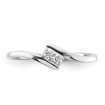 sterling silver .07ctw two diamond teen ring