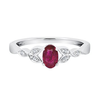 sterling silver created ruby oval diamond ring