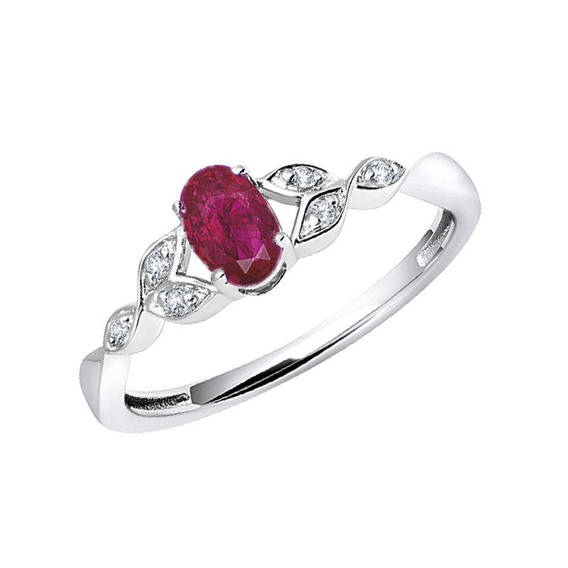 Greenberg's sterling silver created ruby oval diamond ring