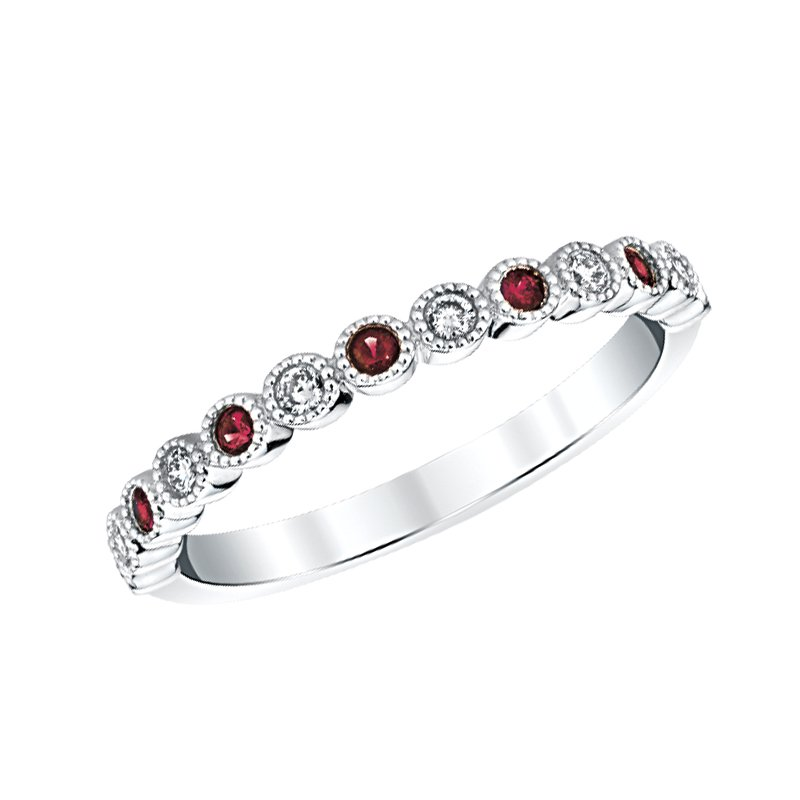 Greenberg's 14k white gold ruby birthstone ring