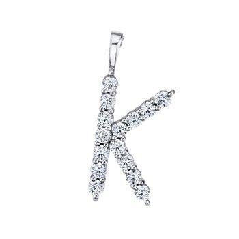 """14k white gold """"k"""" initial pendant"""
