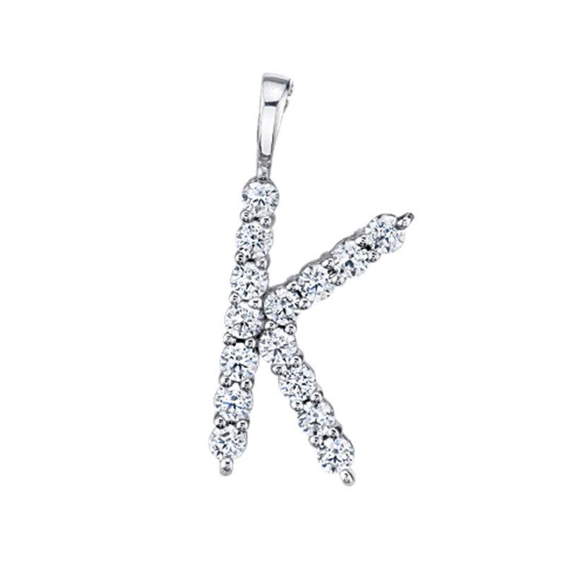 """Greenberg's 14k white gold """"k"""" initial pendant"""