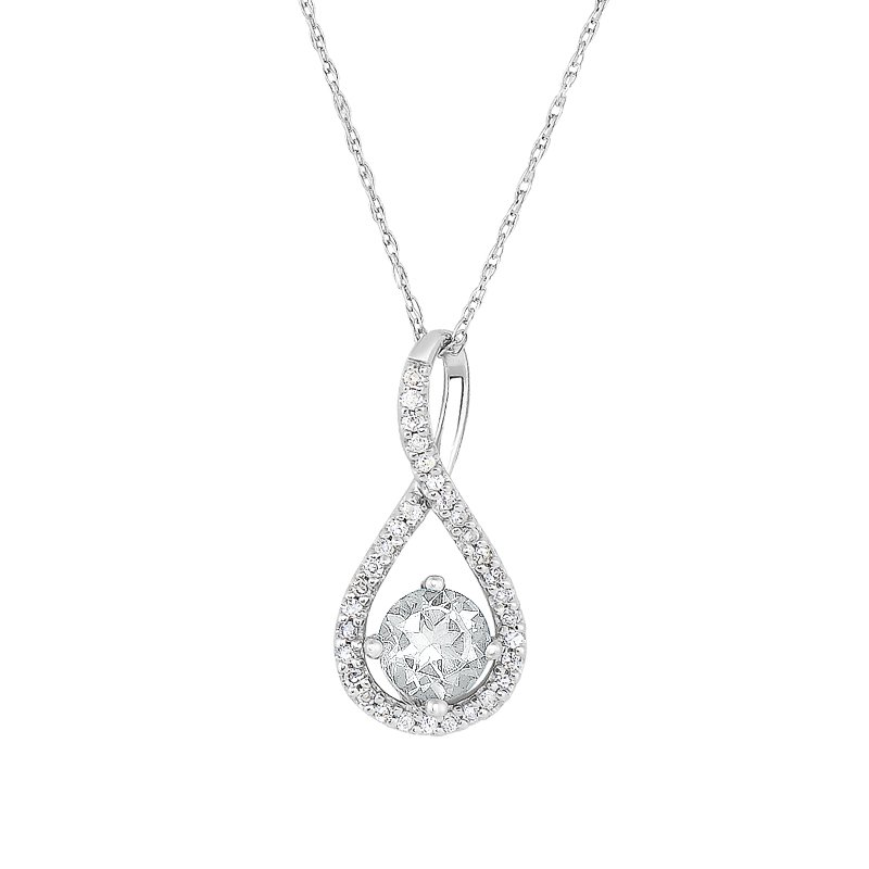 Greenberg's sterling silver .10ctw white topaz swirl pendant