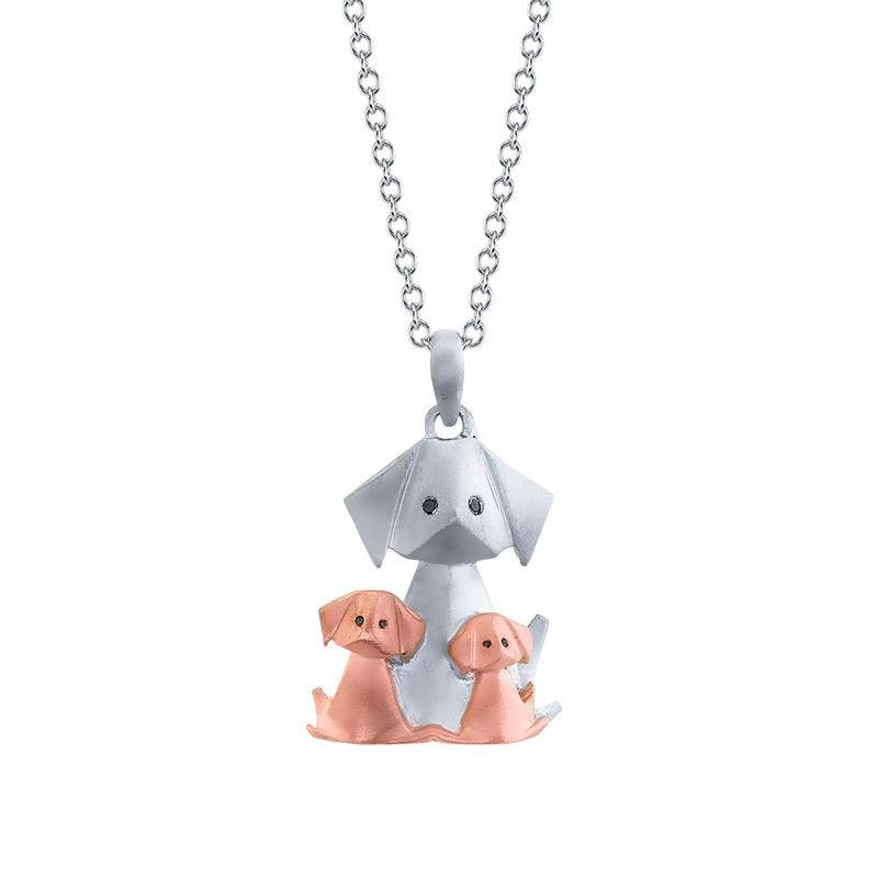 Greenberg's sterling silver origami dog and puppies pendant