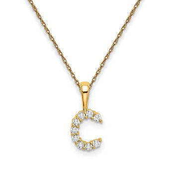 "14k yellow gold initial ""c"" pendant with chain"